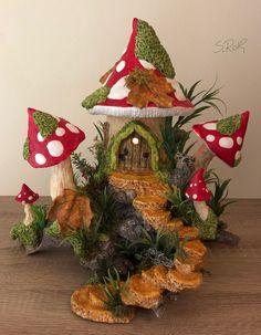 Fairy house oil burner night light house tea light by Sallyamoss (candels night) Clay Fairy House, Fairy Garden Houses, Gnome House, Gn… Fairy House Crafts, Clay Fairy House, Fairy Garden Houses, Garden Crafts, Gnome Garden, Clay Crafts, Diy And Crafts, Fairy Garden Furniture, Mushroom House