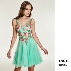 ANNA  Short cocktail tulle dress with applique flowers CODE: 37115
