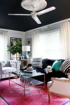 Add Some Drama to Your Living Room Decor with a BLACK Ceiling - Totally for the Decor Dare Devils!