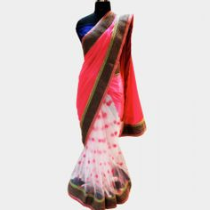 Pink & white satin and georgette saree with sequin flowers. http://www.tadpolestore.com #India #Indian #designer #saree #sari #party #weddings #sequin #just_wink