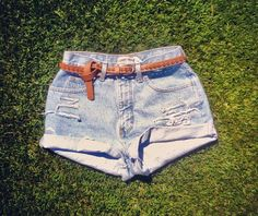 Vintage High Waisted Shorts  Light Distressed by MissDomineek, $46.00