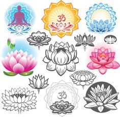 various-illustrations-of-a-lotus-flower-vector-id450662007 (418×409)