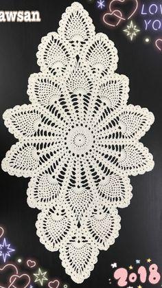 Oval crochet doily new hand crocheted doilies ecru doily Crochet Table Runner Pattern, Free Crochet Doily Patterns, Crochet Doily Diagram, Crochet Tablecloth, Crochet Chart, Thread Crochet, Crochet Motif, Hand Crochet, Crochet Stitches