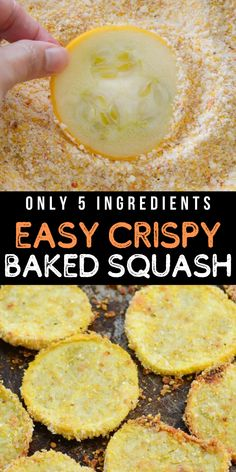 This Crispy Baked Squash only has five simple ingredients and is the perfect quick and easy vegetable side dish!  #sidedish #vegetarian