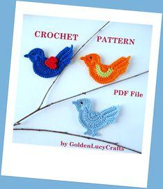 Bird Applique Crochet PATTERN PDF by GoldenLucyCrafts on Etsy