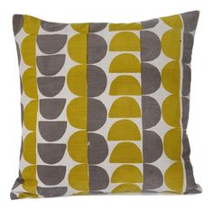 Semicircle cushion in Gorse yellow and Mole grey Printed Cushions, Mole, House Ideas, Pillows, Grey, Prints, Gray, Mole Sauce, Cushion