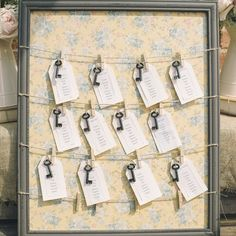 The Wedding of My Dreams - Vintage Floral Table Plan With Pegs #wedding - available from www.theweddingofmydreams.co.uk #theweddingomd @theweddingomd
