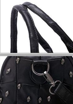 Skull Satchel Bag – Goth Mall Satchel Bag, Crossbody Bag, Beaded Skull, Black Cross Body Bag, Tote Handbags, Leather Purses, Shoulder Strap, Size 12, Pocket