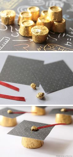 Tip your hat to the grad with these simple and sweet Graduation Cap Favors! Making these DIY grad party favors takes little time and effort, and they make for great table decorations. Coordinate the paper to match your school's colors and be sure to buy extra chocolate, just in case you need some fuel while crafting.