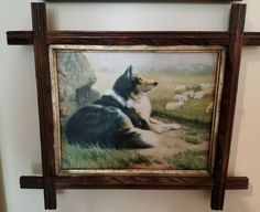 "SOLD  R. Atkinson Fox Vingtage Print Dog Collie ""An Efficient Guardian"" HTF 1920's"