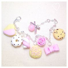 Braccialetto Mix Charms Bracelet Fimo Clay Cute Kawaii Eat Me Donut Marshmallow Cookie Alice Sweet Heart Sweet
