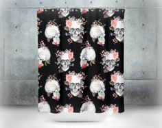 Skull Shower Curtain Black Purple Swirl Floral By FolkandFunky