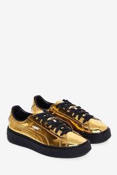 PUMA Basket Platform Metallic Sneaker - Shoes | Platforms | Sneakers | Velvet