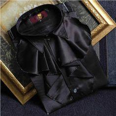 Men s Black Vintage Edwardian Formal Dress Suit Tuxedo Wedding Shirts SKU-142067