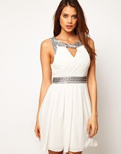 TFNC Skater Dress in Grecian Style with Embellished Trim Rehearsal dinner dress! Or prom dress for @Samantha Hicks ??