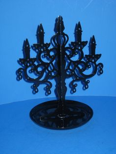 Jewelry Holder Stand With Tray Black Enamel Metal Upright #Unbranded