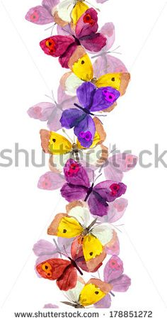 Seamless repeated border line with bright colorful butterflies - watercolor hand painted design Butterfly Watercolor, Border Design, Paint Designs, Flower Designs, Royalty Free Stock Photos, Hand Painted, Bright, Display, Bird