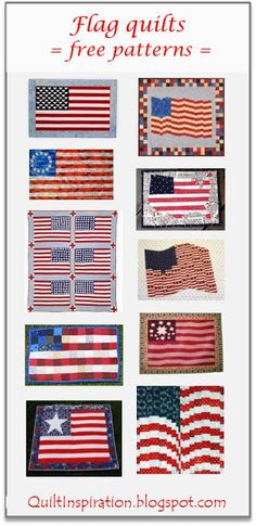 Free pattern day: Patriotic and flag quilts. January 2016 at Quilt Inspiration. Flag Quilt, Patriotic Quilts, Quilt Blocks, Rag Quilt Patterns, Applique Patterns, Sewing Patterns, Quilting Tutorials, Quilting Projects, Quilting Ideas