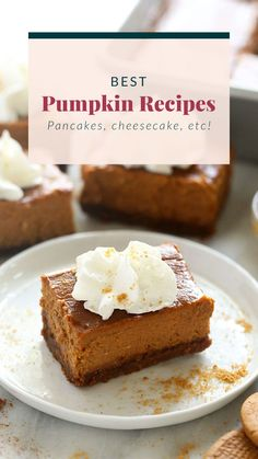 Here are some of the BEST pumpkin recipes on the internet! Pumpkin pancakes, pumpkin cheesecake, and more! Healthy Crockpot Recipes, Healthy Dessert Recipes, Smoothie Recipes, Healthy Foods, Desserts, Oatmeal Recipes, Pumpkin Recipes, Thanksgiving Recipes, Fall Recipes