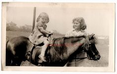 Vintage Photo Unusual CUTE LITTLE GIRL Funny Face PONY Horse RIDE Old Adorable