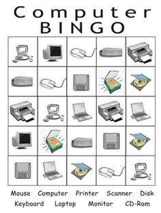 Bingo and cards Computer Bingo with computer components and cards. Pictures on one side, words on the puter thematic unitComputer Bingo with computer components and cards. Pictures on one side, words on the puter thematic unit Computer Lab Rules, Computer Lab Lessons, Computer Lab Classroom, Computer Basics, Computer Class, Computer Programming, Computer Science, Computer Teacher, Technology Lessons