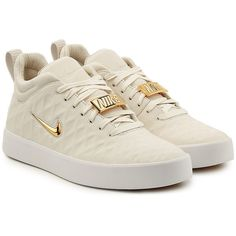 Nike Tiempo Vietta '17 Leather Sneakers ($239) ❤ liked on Polyvore featuring men's fashion, men's shoes, men's sneakers, one color, mens white leather shoes, mens metallic gold sneakers, nike mens sneakers, mens leather shoes and mens leather sneakers