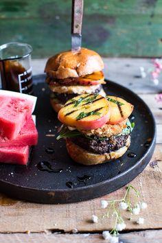 Fried Mozzarella and Caramelized Peach Caprese Burger   halfbakedharvest.com @hbharvest