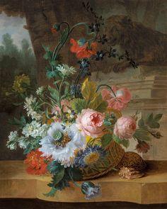 Willem van Leen Dordrecht 1753 - 1825 Delfshaven, Still Life with Flowers in a Park Landscape.