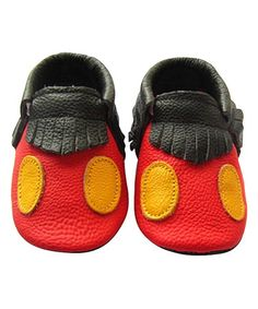 $14.99 marked down from $32! Black & Red Fringe Leather Booties #mickeymouse #disney #baby #zulily #zulilyfinds