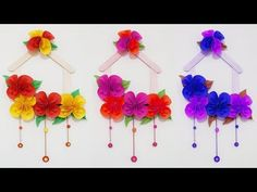 DIY Wall Hanging !!! How to Make Easy & Beautiful Paper & Pompom Wall Hanging !!! - YouTube