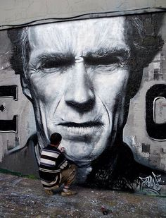 Clint Eastwood Street Art by FLOW TWE