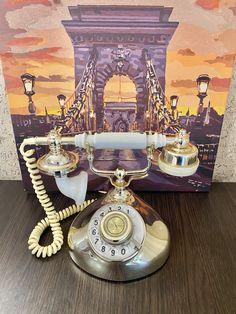 Rare USSR retro phone 1988,Ufa phone,Vintage phone,Dial telephone,Stylish telephone,White Gold phone,Soviet desk telephone,Phone with watch