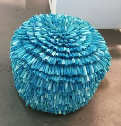 Woolly pouf by Swedish Aveva design. Displayed at the trade fair Formex in Stockholm January 2016.