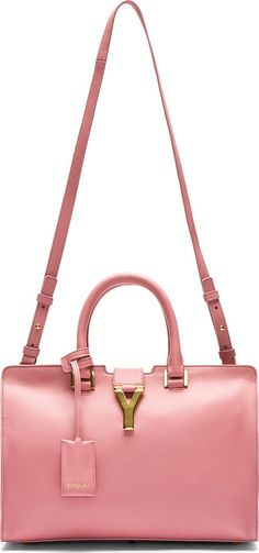 Saint Laurent: Rose Leather Ligne Y Small Cabas Tote, ht