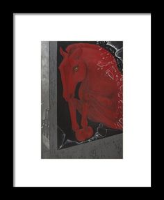 Horse Painting Framed Print featuring the painting Jumping For Freedom by THELLI Helenia Tedesco
