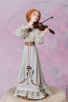 Collection doll / Коллекционные куклы ручной работы. Ярмарка Мастеров - ручная работа. Купить Авторская кукла Скрипачка. Handmade. Бледно-сиреневый, скрипка