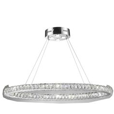"Galaxy 20 LED-light Chrome Finish and Clear Crystal Oval Ring Chandelier (42"" L x 16"" W x 2"" H), Size 42"" L x 16"" x 2"" (Aluminum)"