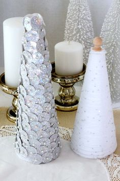 Add a little sparkle to your holiday decor with these DIY Bling Christmas Trees.