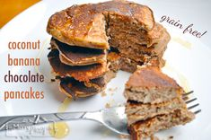 Chocolate, Coconut, Banana Pancakes - Grain, Gluten, Dairy and Sugar Free yet still filling and delicious!