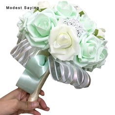 Find More Wedding Bouquets Information about Pack with Box Mint Green Artificial Pearls Wedding Bouquets 2017 Romantic Bridal Flowers bouquets casamento Wedding Accessories,High Quality accessories bridal,China accessories for xbox 360 Suppliers, Cheap accessories earphone from modest saying Lacebridal Store on Aliexpress.com