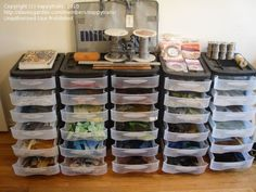 "love the scrap bins seen here for ""scrap"" glass storage"