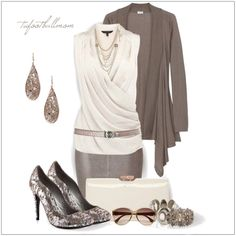 CHATA'S DAILY TIP: Metallic accessories are so in this season. We love them because they suit all personalities, from smart and elegant, to casual and fun. A waterfall styled cardigan and softly draped top disguises a rounded to full tummy. Opt for a tapered skirt, not a full skirt, to make you look instantly slimmer. COPY CREDIT: Chata Romano Image Consultant, Dotti von Ulmenstein http://www.chataromano.com/consultant/dotti-von-ulmenstein/ IMAGE CREDIT: Pinterest