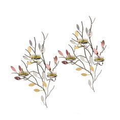 Kimaltelevat lehdet -seinälampetti, setti  P92598S   Metallia. Korkeus 34 cm. (Tuikkiva)