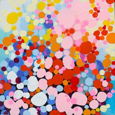 """More Candles Than Cake"" by Claire Desjardins. 30""x30"" - Acrylics on canvas. #clairedesjardins #abstractart #abstractpainting #artwork #originalart #originalartwork #painting #wallart #walldecor #pink #dots"