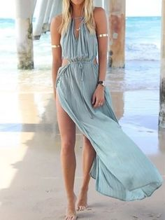 Chic dress summer boho outfit celebrity cutout high slit maxi dress festival 2015 Sexy beach dress casual New Arrival +Hot Sale(China (Mainland)) Gypsy Style, Hippie Style, Bohemian Gypsy, Look Fashion, Womens Fashion, Dress Fashion, Ladies Fashion, Fashion Styles, Street Fashion