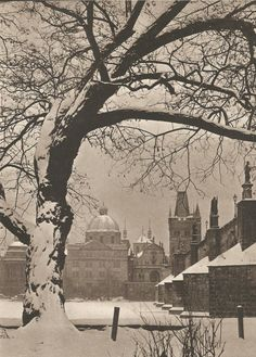 Winter Prague by Jiří Jeníček, late 40's, under the Charles Bridge