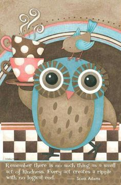 Owl Serving Hot Tea. Owl Wallpaper, Owl Canvas, Paisley, Small Acts Of Kindness, Paper Owls, Owl Fabric, Owl Cartoon, Owl Pictures, Owl Always Love You