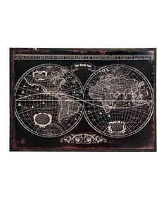Loving this Black Rustic Map Wall Art on #zulily! #zulilyfinds