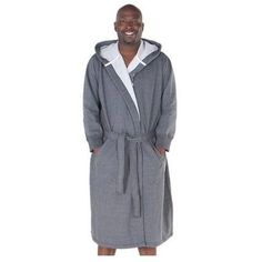 MENS XL GREY COTTON ROBE SWEATSHIRT HOODED BATHROBE SLEEPWEAR LOUNGE SWEATS NEW #AlexanderDelRossa #Robes EXTRA LARGE MEN'S CLOTHING MENSWEAR WITH BELT GRAY SWEATSHIRT WITH POCKETS