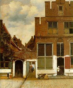 Het straatje van Vermeer / The vein of Vermeer / La stradina (Johannes Vermeer, circa  1658, Rijksmuseum, Amsterdam). The painting depicts a view of houses in Delft.